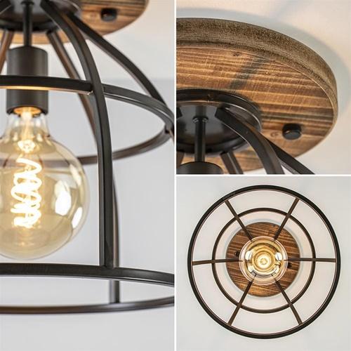 Plafondlamp Matrix korf zwart/hout industrieel