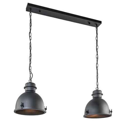 Hanglamp 2L industrieel zwart/grill