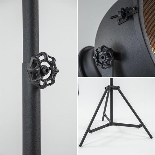Industriële vloerlamp driepoot mat zwart met grill
