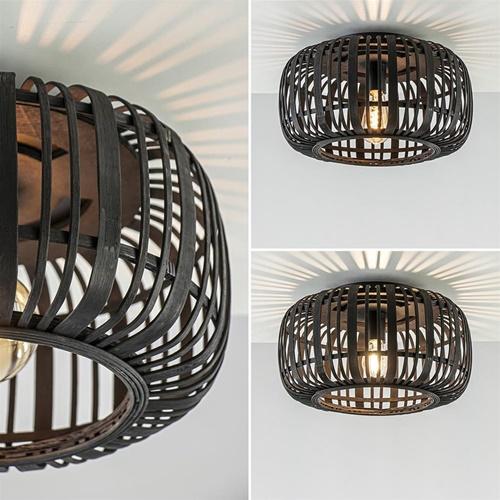 Plafondlamp bamboe zwart 40cm