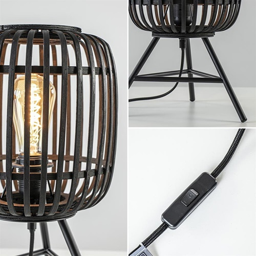 Tafellamp bamboe mat zwart met driepoot