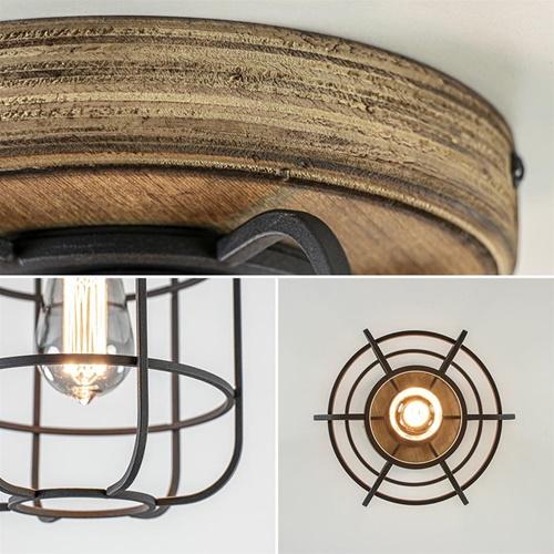 Mat zwarte kooi plafondlamp met hout