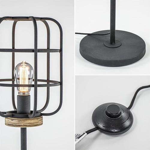 Landelijk industriële vloerlamp mat zwart met hout