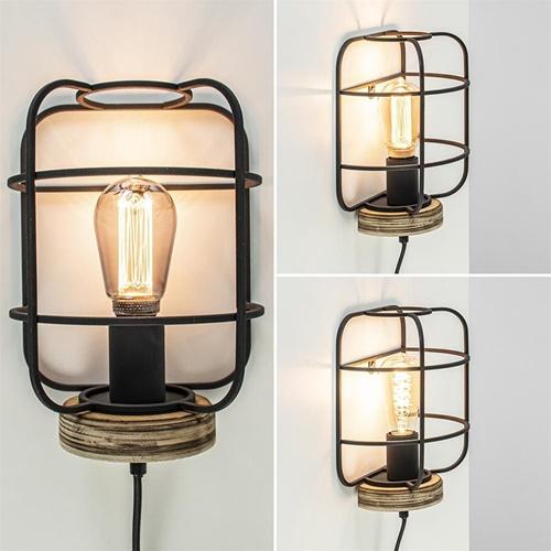 Industriële wandlamp mat zwarte kooi met hout
