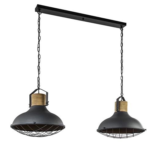 Industriële 2-lichts hanglamp zwart met houten klos
