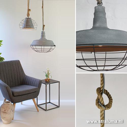 Industri le hanglamp beton touw keuken straluma for Industriele lamp keuken