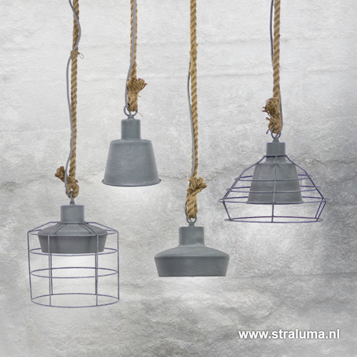 Industriele hanglamp klein betonlook to straluma for Kleine industriele hanglamp