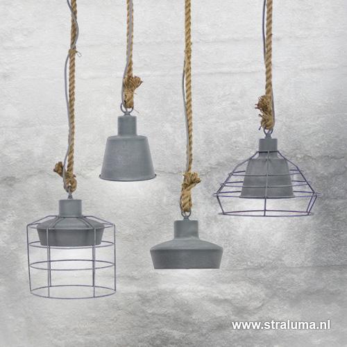 kleine hanglamp industrie betonlook straluma