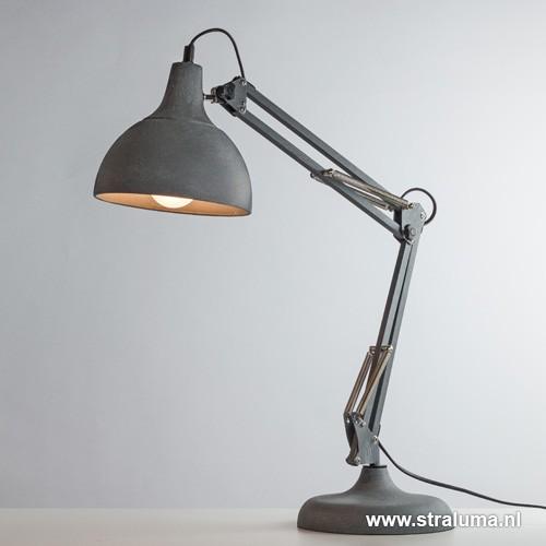Stoere industri le bureaulamp betonlook straluma for Industriele bureaulamp