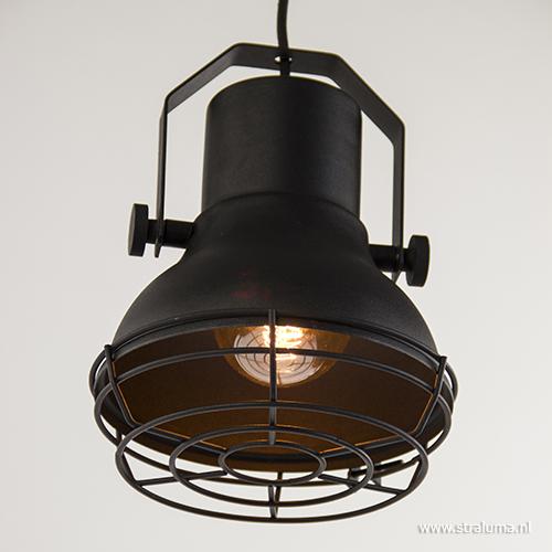 Kleine industri le hanglamp mat zwart straluma for Kleine industriele hanglamp