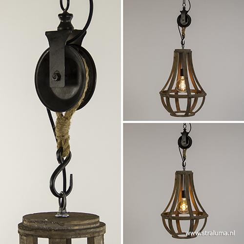 Geliefde Houten hanglamp-kroon met katrol | Straluma @SB07