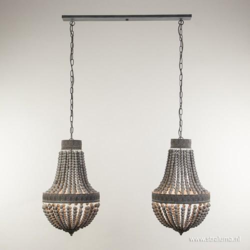 Houten kralen eettafel hanglamp 2 lichts straluma for Lampen verbinden