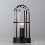 Kleine zwarte tafellamp industrie Storm