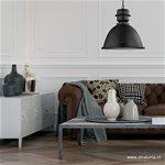 Zwarte hanglamp industrie - helder glas