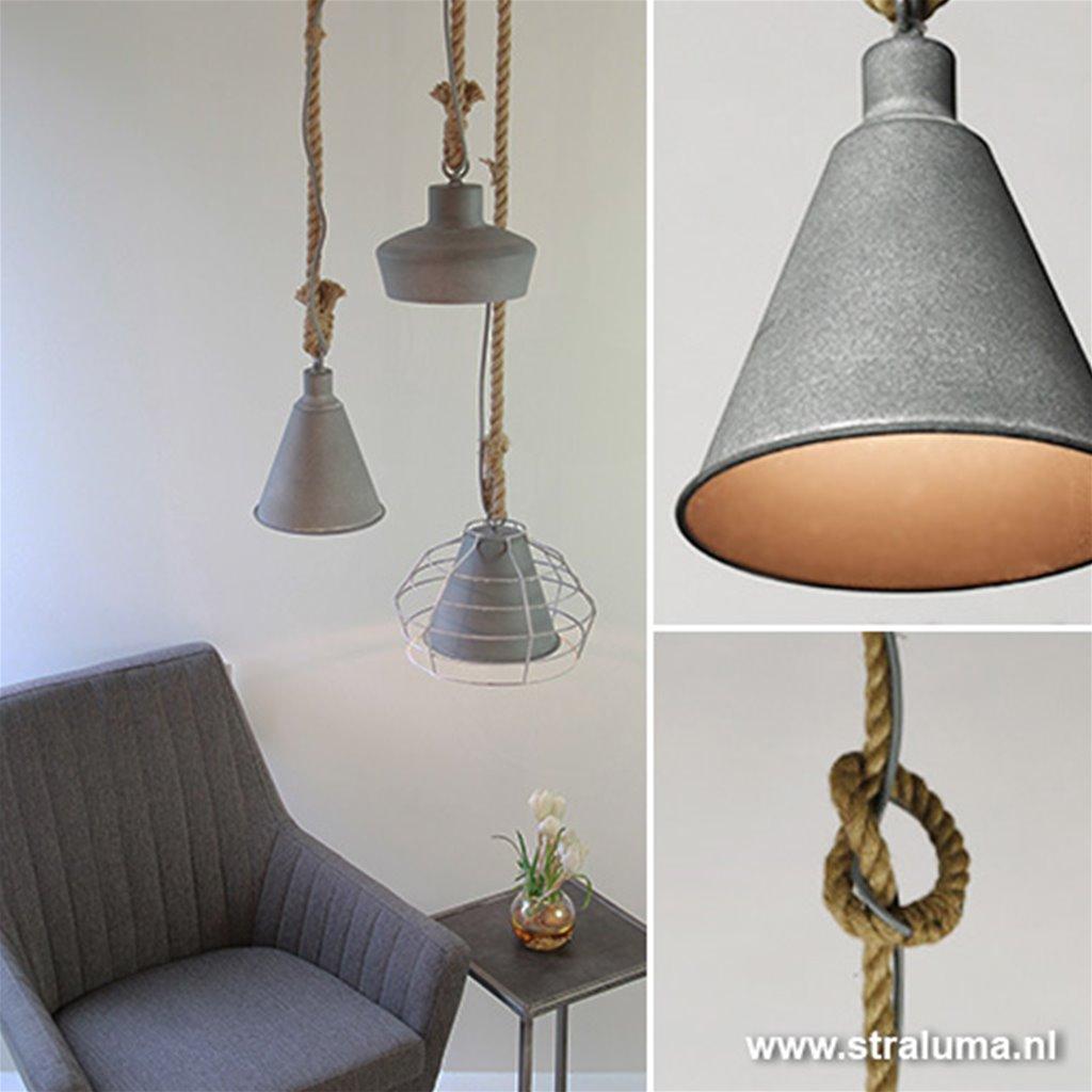 Verwonderend Hanglamp beton-touw voor keuken-hal-wc | Straluma AY-05