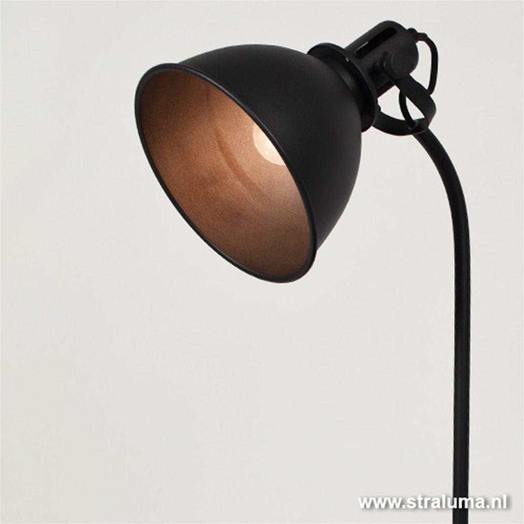 Industriële tafel-bureaulamp mat zwart
