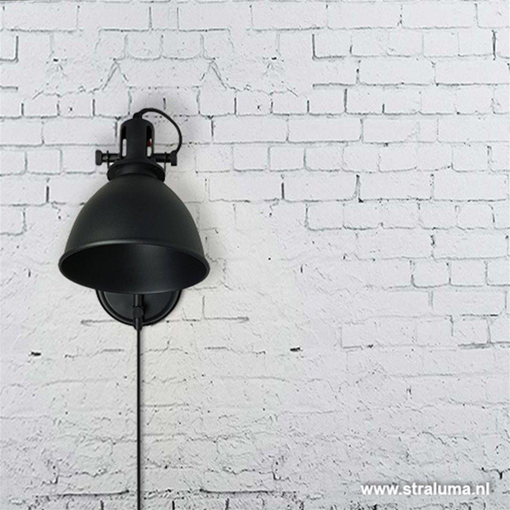 Industriele wandlamp-bedlamp mat zwart