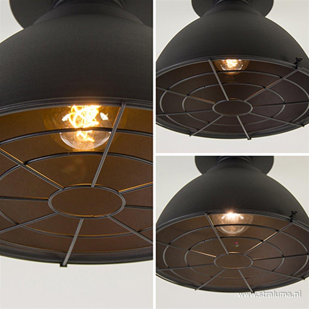 Industriële plafondlamp zwart grill