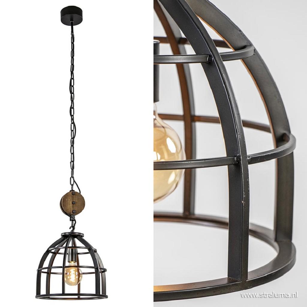 Industrieel landelijke hanglamp zwart staal