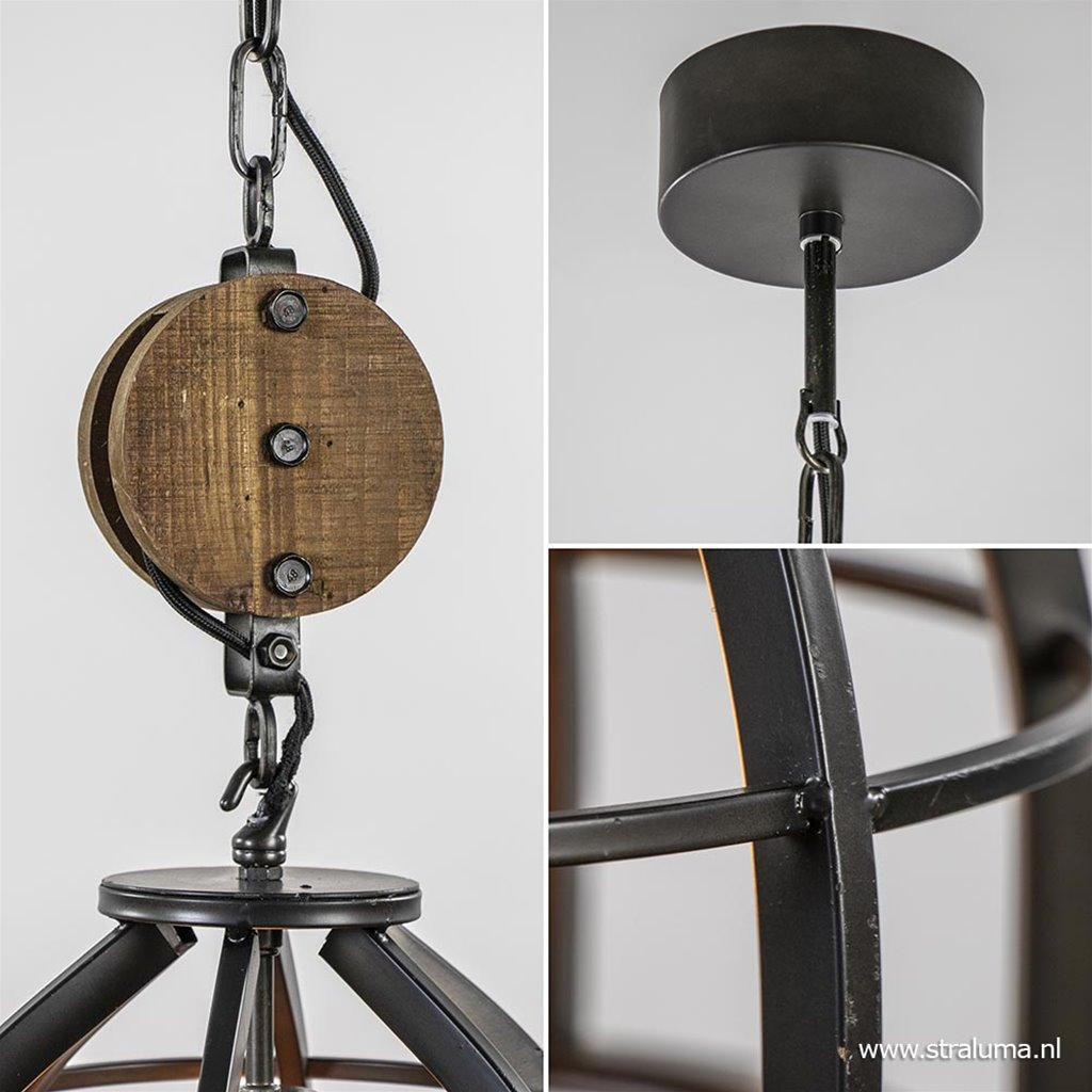 Industrieel landelijke hanglamp 'Matrix' zwart staal