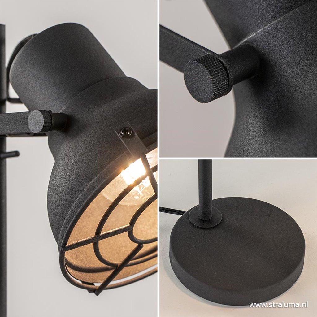 Industriele leeslamp-tafellamp zwart met grill
