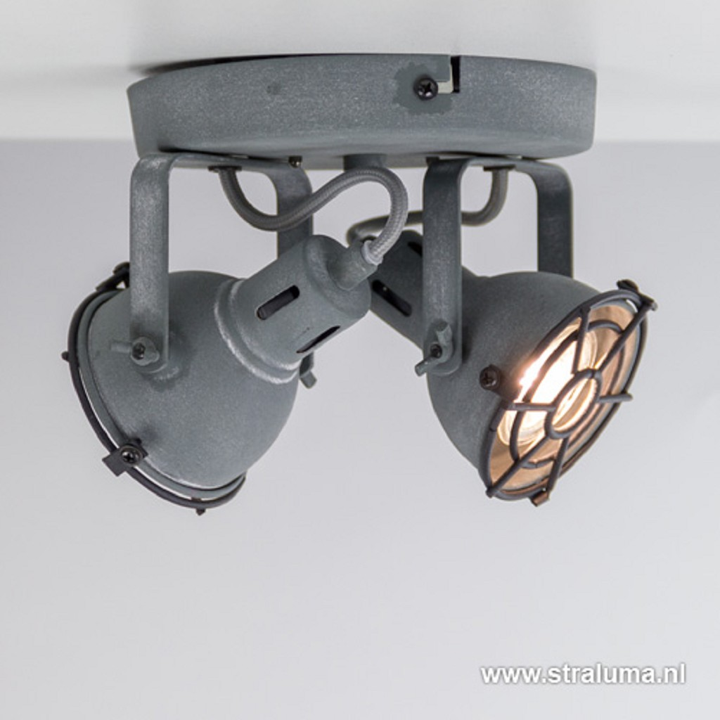 Spot Jesper 2-lichts rond betonlook incl.gu10
