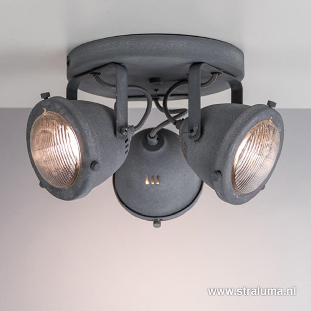 Ronde 3-lichts plafondspot betonlook