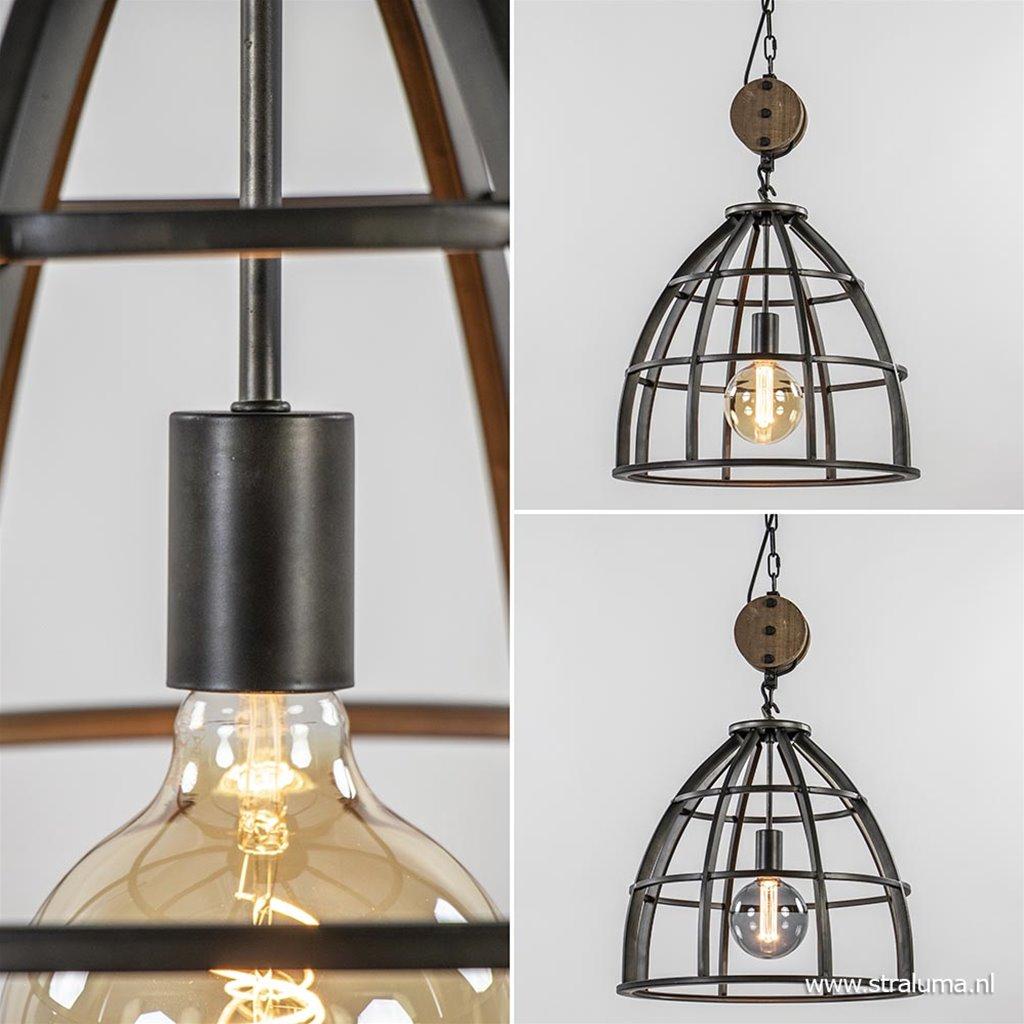 Industriele hanglamp 48cm zwart + katrol