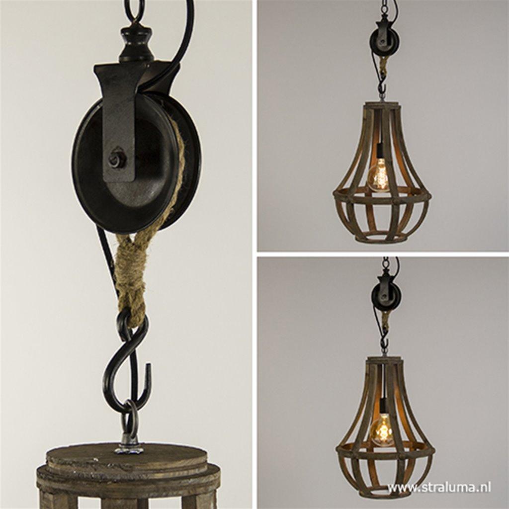 Houten hanglamp-kroon met katrol