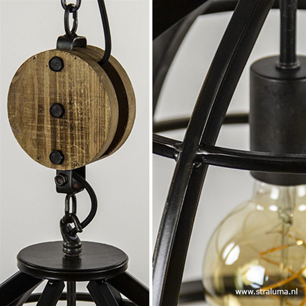 Hanglamp 2L zwart/houten katrol industrieel