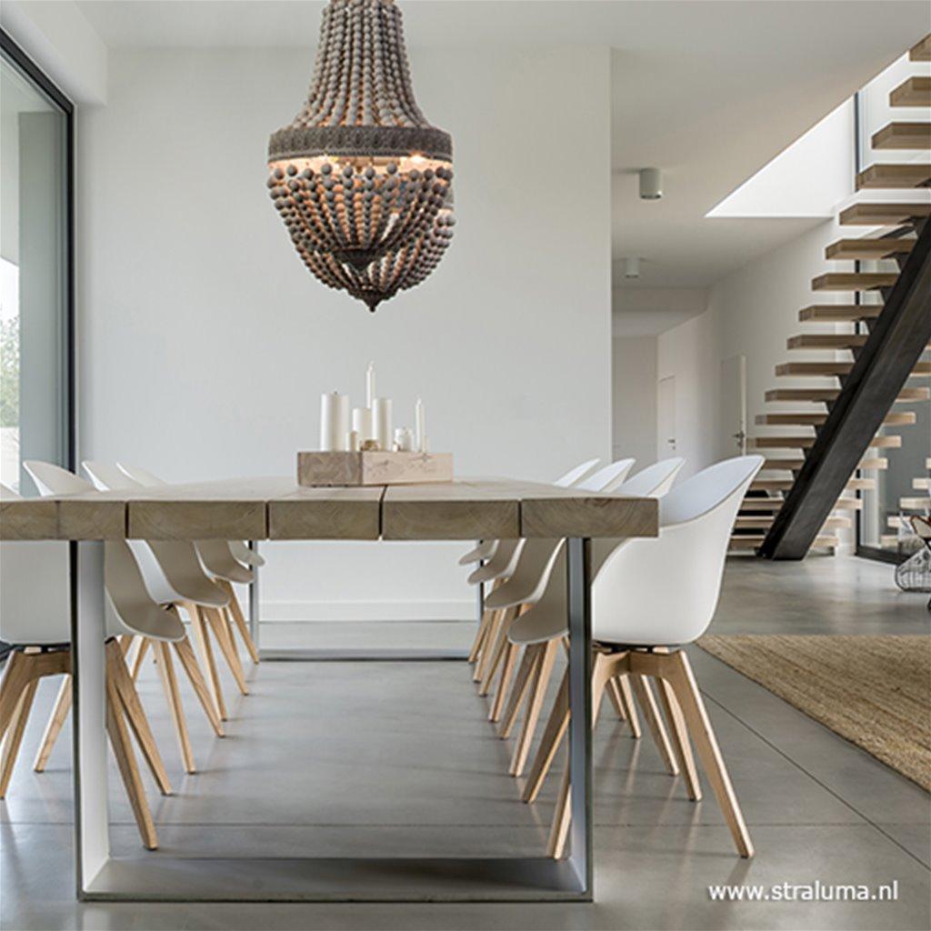 Houten kralen eettafel hanglamp 2-lichts
