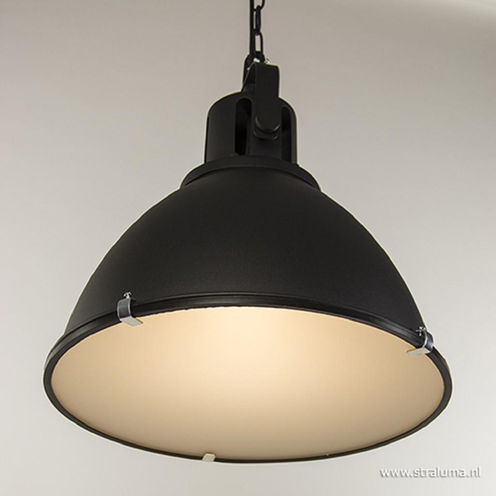 Hanglamp 2-l op balk zwart industrieel