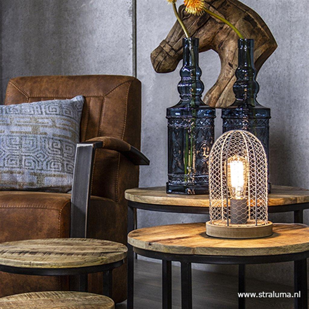 Kleine gaas kooi tafellamp met hout