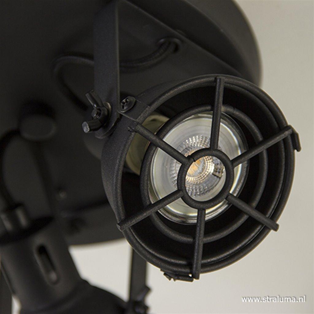Zwarte ronde plafondspot Jesper 3-lichts