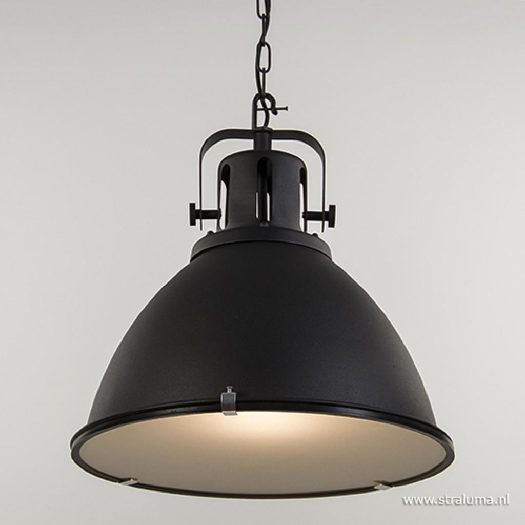 Grote industriele eettafelhanglamp zwart