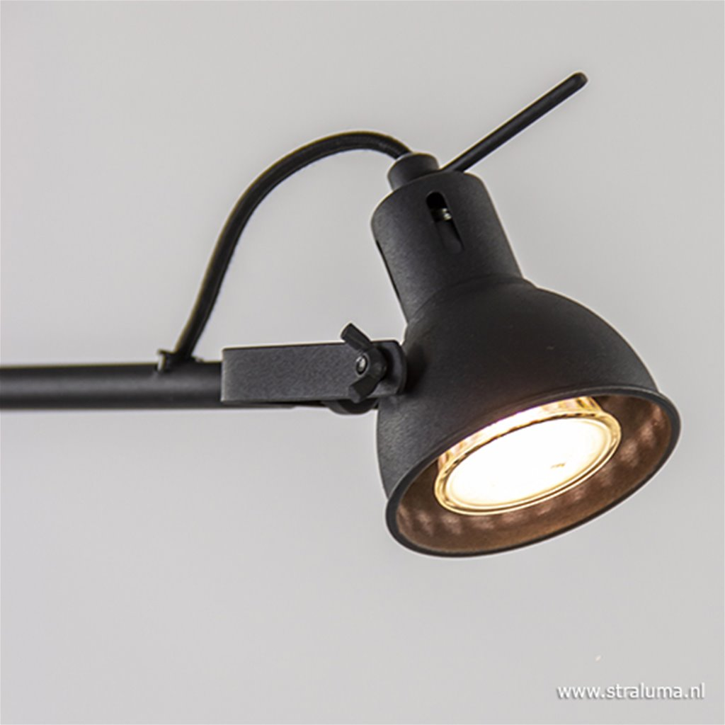 Industriële lees/vloerlamp zwart metaal