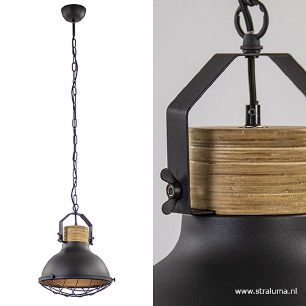 Industriële hanglamp zwart met hout