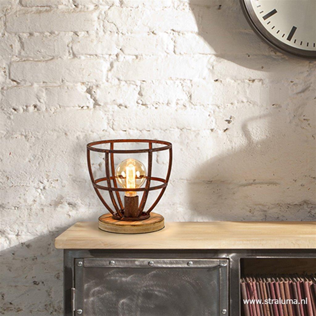 Metalen tafellamp Matrix roest met hout 25 cm
