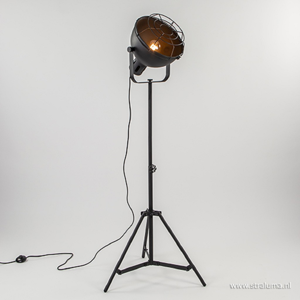 Zwarte vloerlamp driepoot industrieel