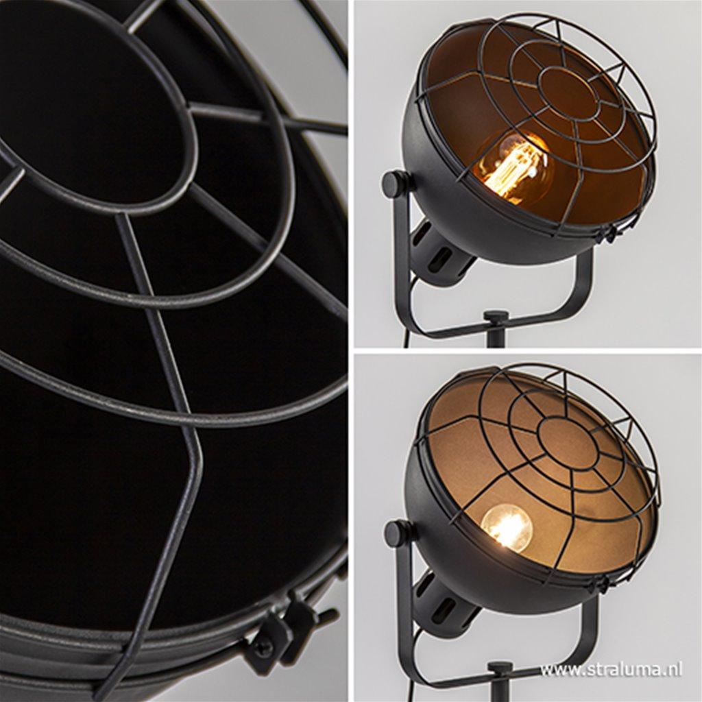 Zwarte vloerlamp Jesper driepoot industrieel