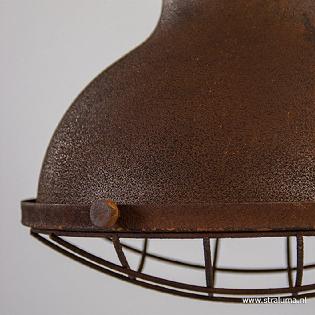 Metalen hanglamp roest met grill en hout