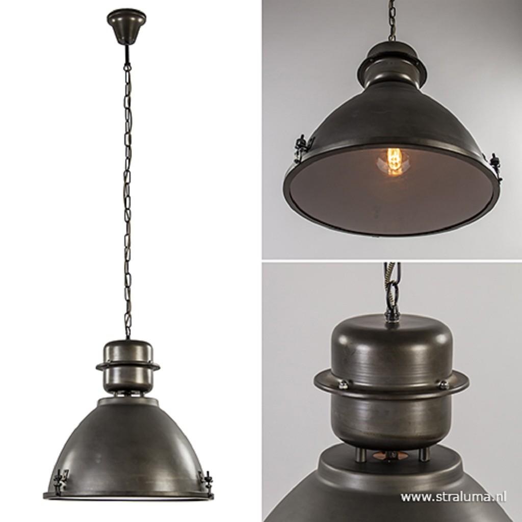 Industriële hanglamp antraciet met glas