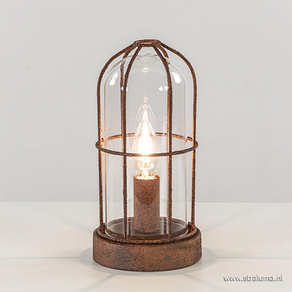 Kooi tafellamp roest met glas