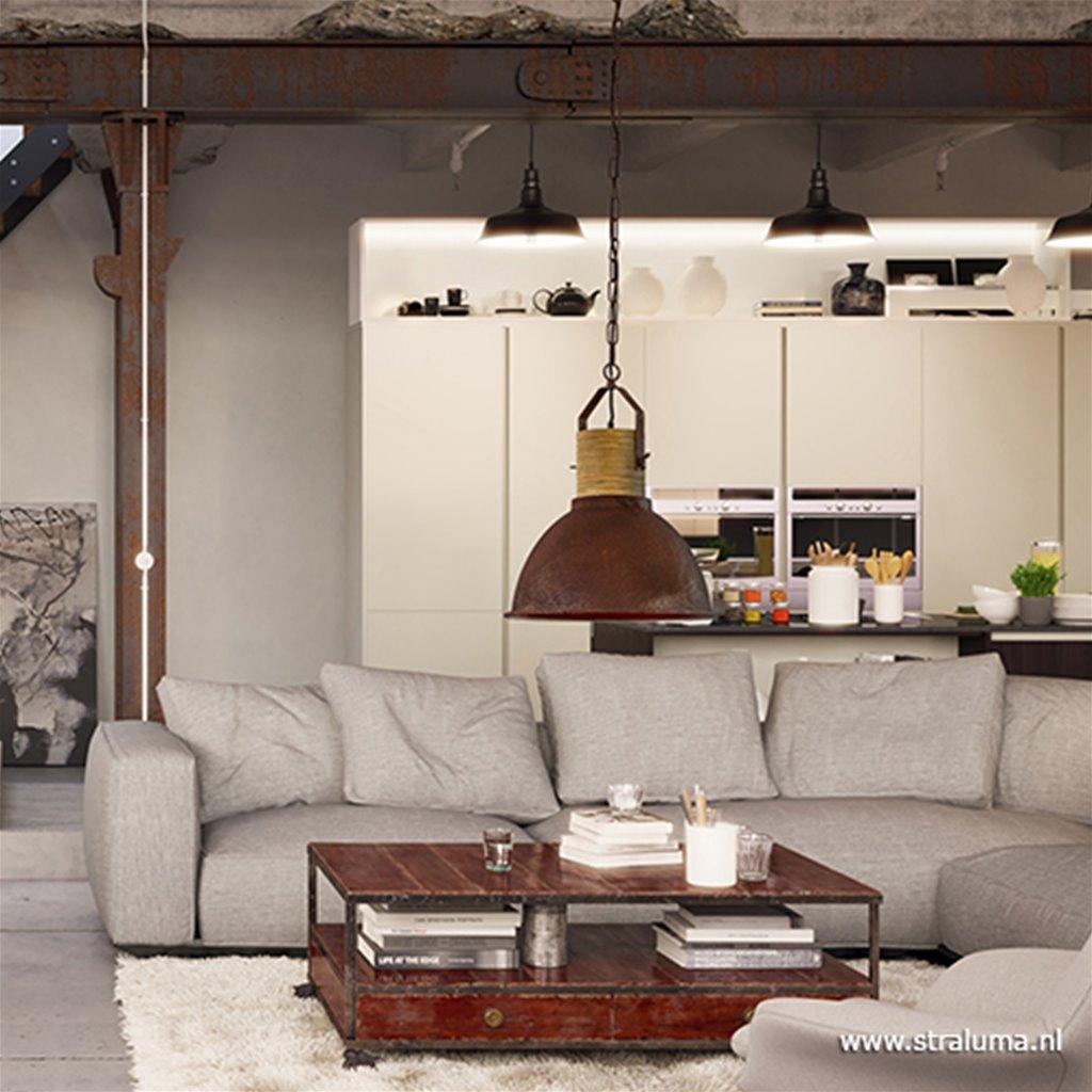 Industriële hanglamp roest met hout