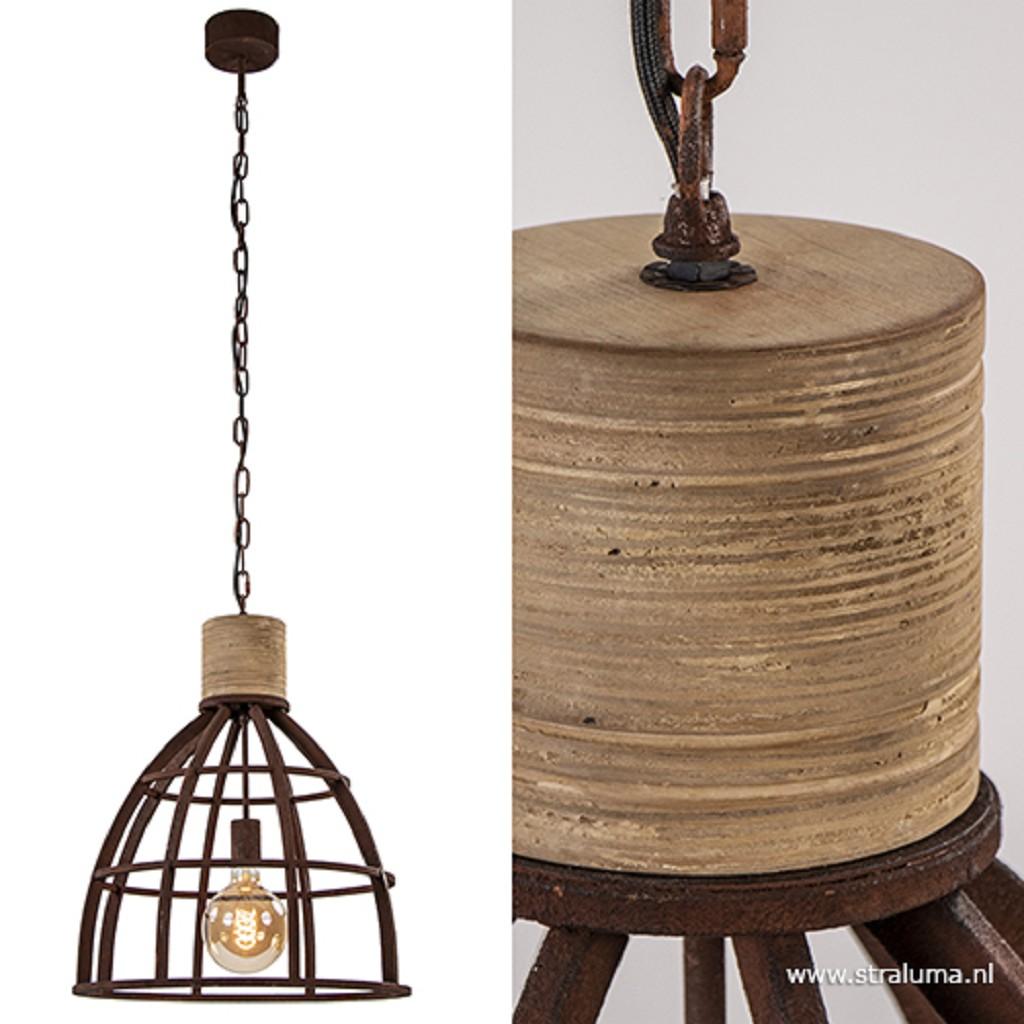 Metalen hanglamp industrie roest/hout