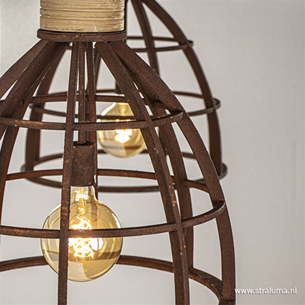 Metalen eettafelhanglamp roest groot