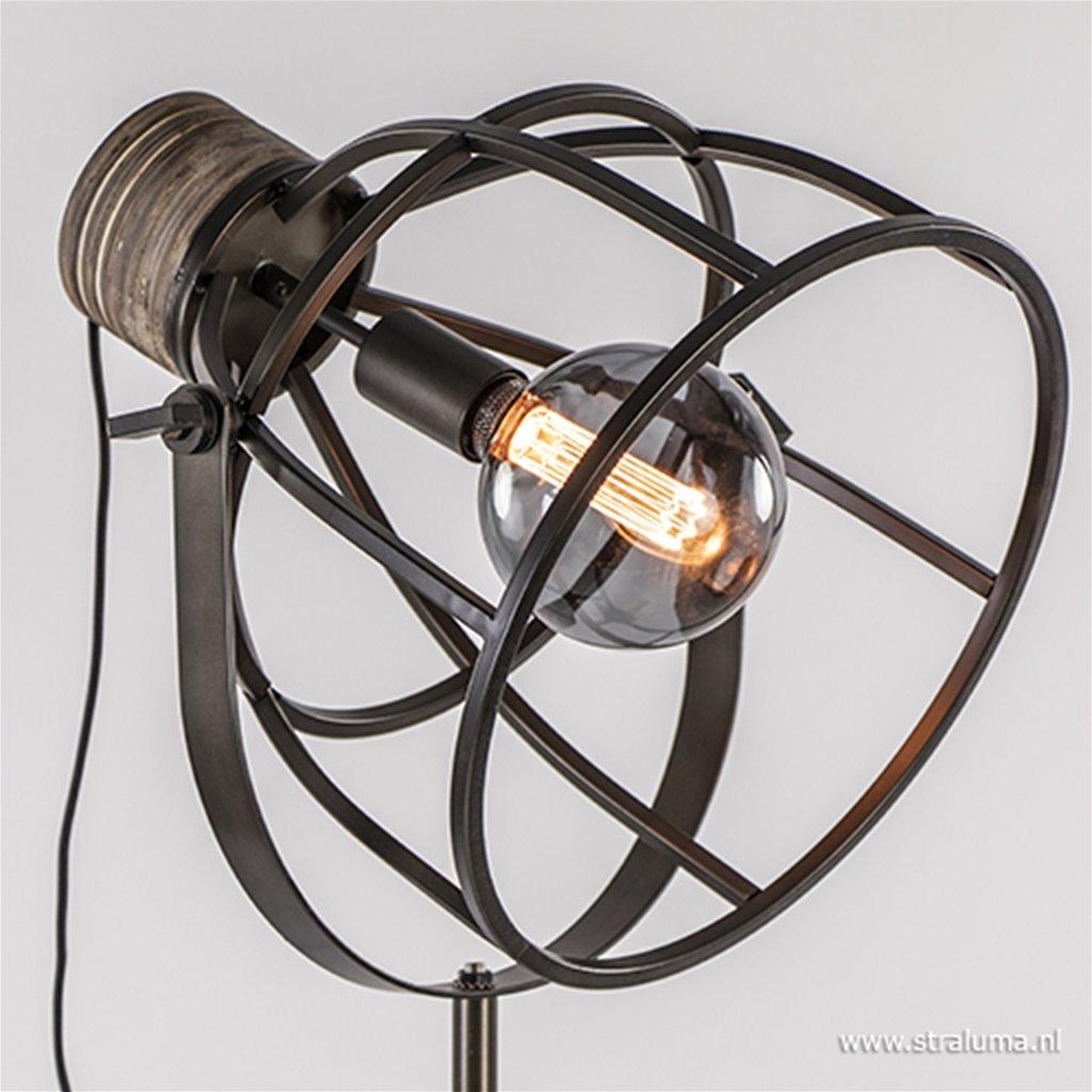 Driepoot vloerlamp zwart staal met hout