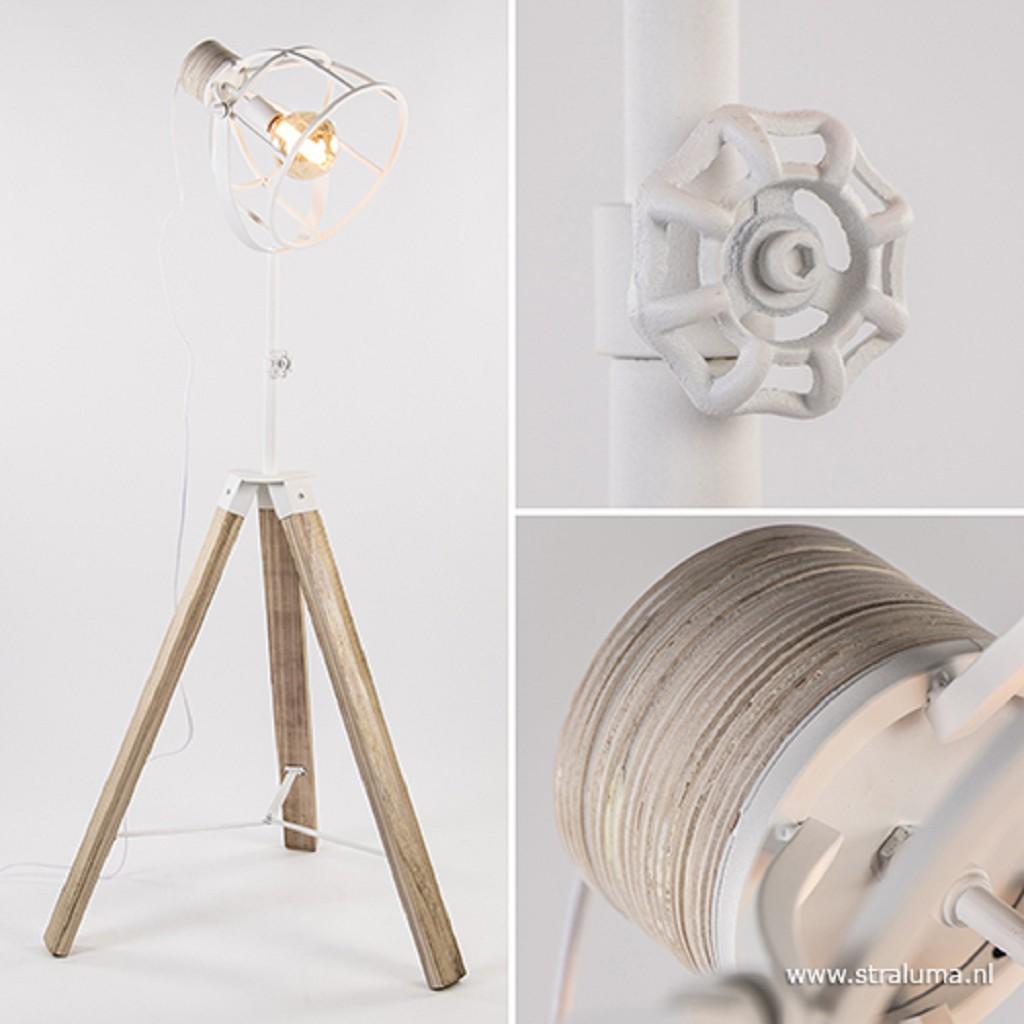 Landelijke vloerlamp driepoot wit metaal
