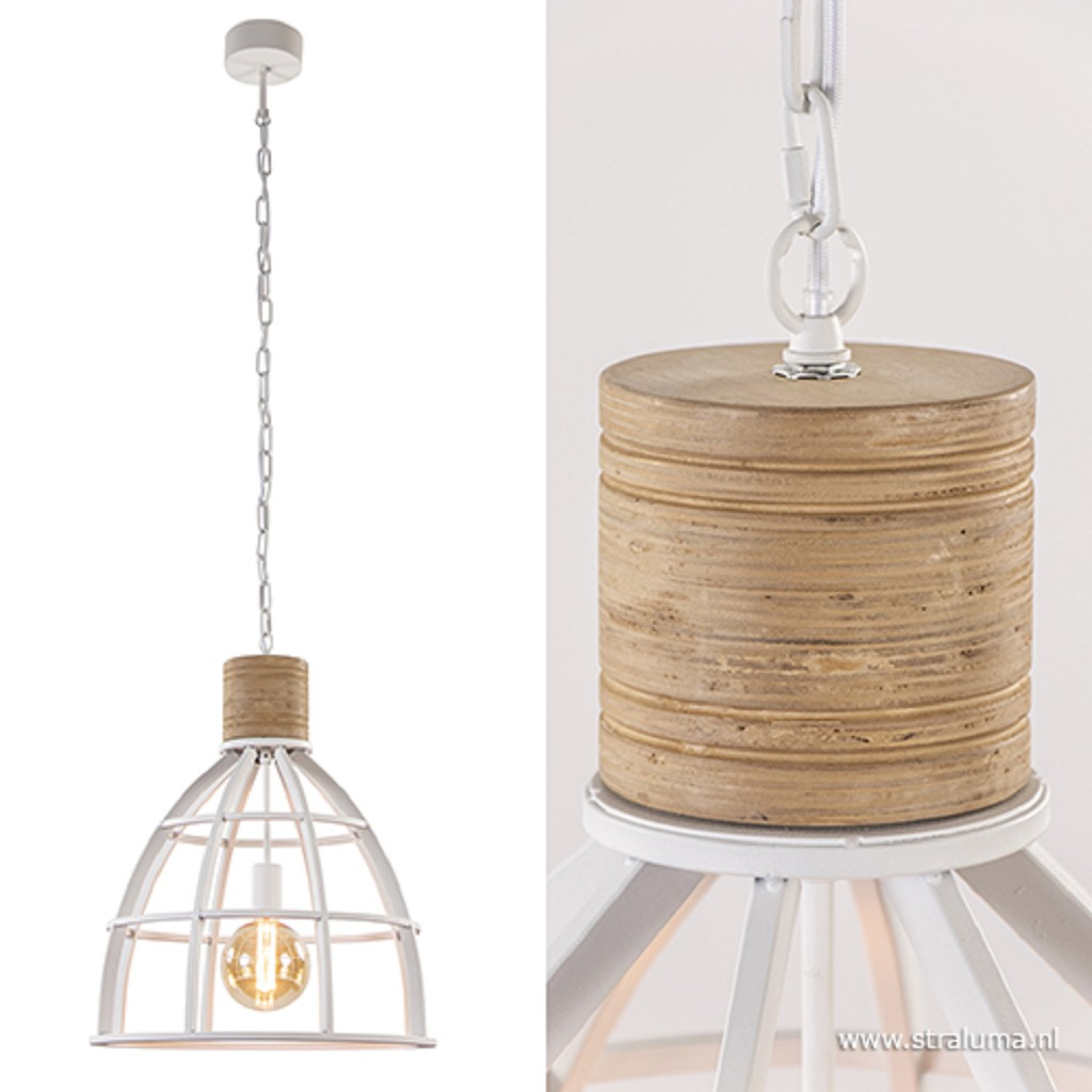 Landelijke hanglamp wit met hout