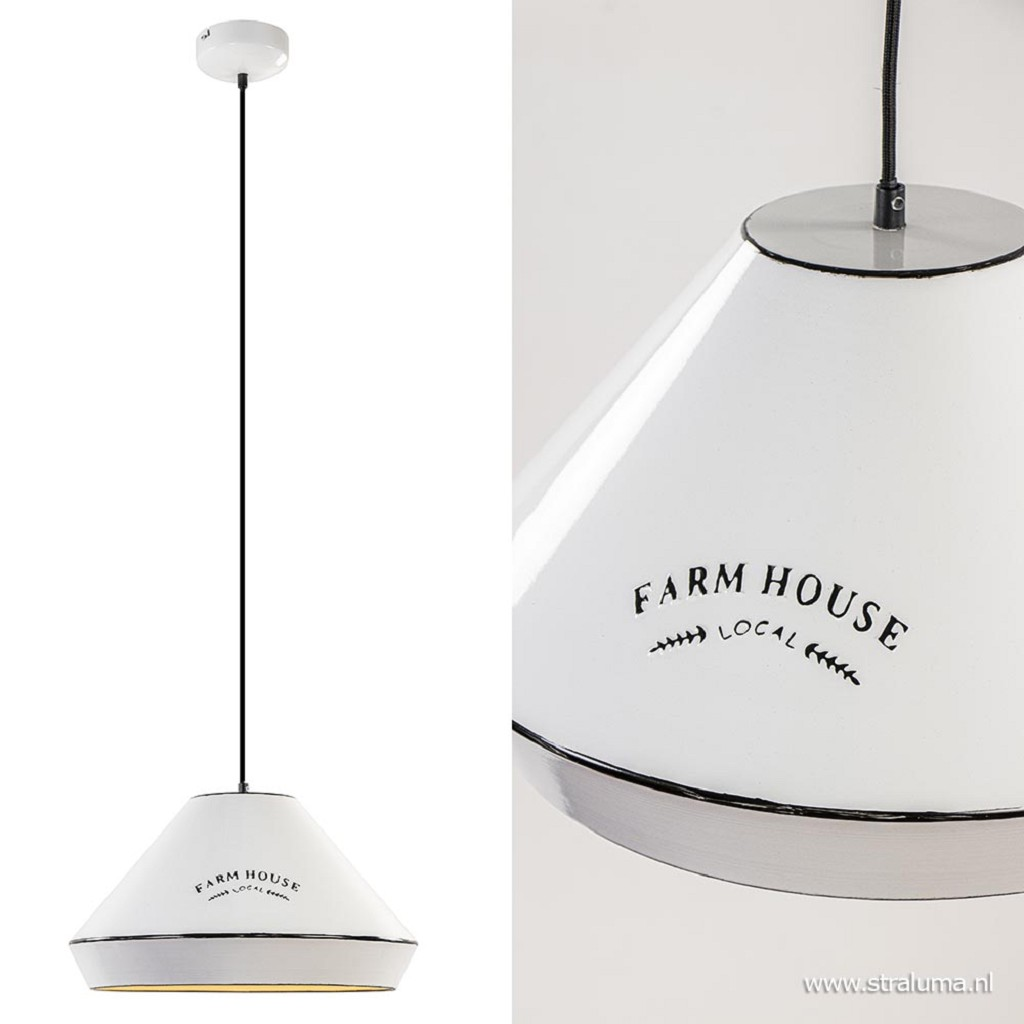 Landelijke hanglamp farm house wit met zwart Ø42 cm